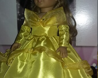 """Belle ball gown made for 18"""" dolls like the American Girl doll"""