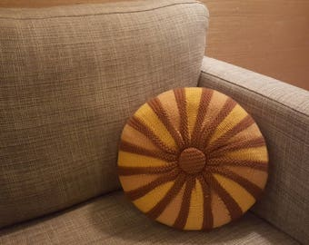 tufted pillow hand knit // retro round throw pillow // golds and browns // mid century, cabin, or boho decor