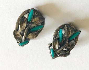 on sale Florenta of California faux turquoise silver tone clip on earrings leaf design