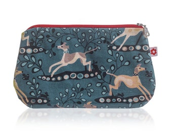 Whippet Oilcloth Purse by Susie Faulks / Make Up Purse / Pencil case/ Whippet/ Purse / Greyhound / Lurcher / Hounds / Dog / cosmetics purse