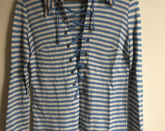 1970s Sailor Lace-up Shirt // 70s Blue Stripe Longsleeve Collared Shirt // Vintage Women's Clothing