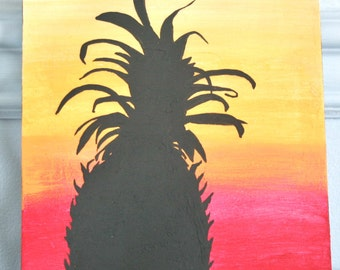 Pineapple Painting, Welcome Painting, Pineapple Silhouette Art, Housewarming Gift, Kitchen Art, Entry Decor, Wall Art, Home Decor