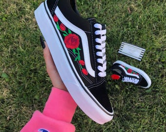 Rose Vans, old skool vans, women sneakers, rose embroidered vans, custom vans, custom vans shoes, custom shoes, floral vans, vans rose, vans