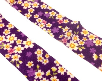 Purple Chirimen ribbon, purple ribbon, Japanese fabric tape, purple sakura, kimono pattern, 5cm x 100cm, free shipping