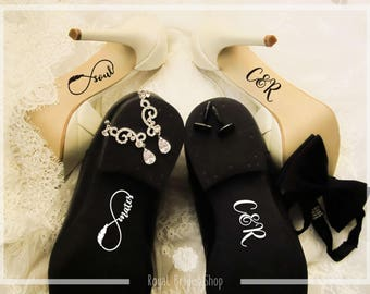 Wedding Shoes Decals Set - Soul Mates Infinity + Initials - Wedding Decal Wedding Sticker Bride And Groom Decals