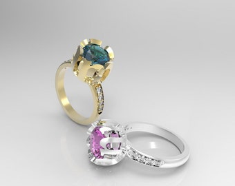 Namehalo ©  ring two carat center and 0,15 carat diomnds