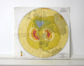 Vintage Northern Hemisphere Weather Map c. 1947 19 x 19 inches