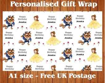 Personalised Beauty & the Beast inspired Birthday Wrapping Paper.
