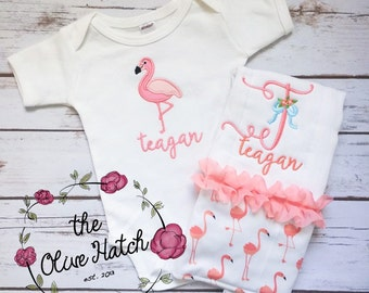 Bringing Home Baby Flamingo Outfit - Baby Shower - Baby Outfit - Applique Embroidery