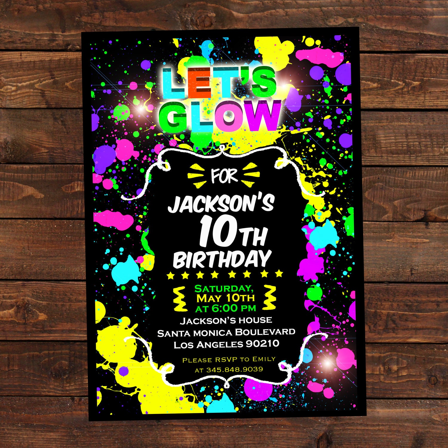 Glow in the dark invitations DIY Glow party invitations