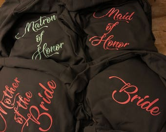Set of 4 BRIDAL PARTY Matching Hoodies