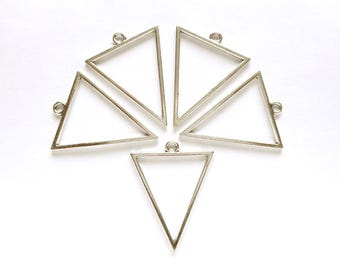 5 Antique Silver Open Triangle Geometric Charms - 27-16-2