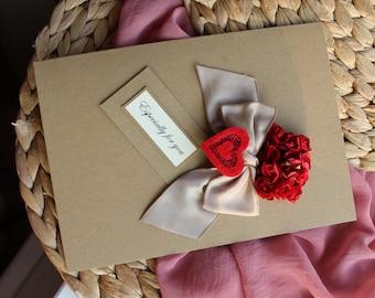 Wife anniversary card handmade th anniversary card linen
