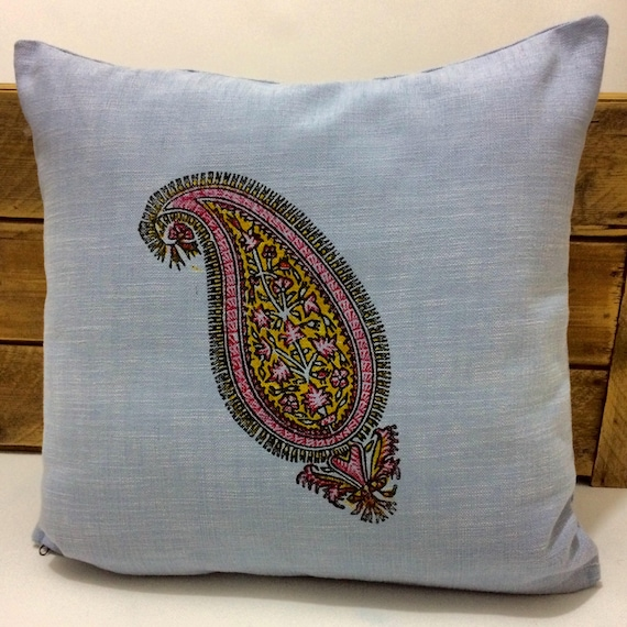 paisley pattern | traditional block printed technique | home decor | Nautical Blue | FARMHOUSE PILLOWS | gift idea