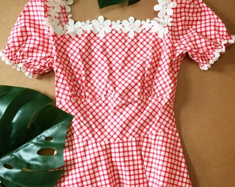 Happily Ever After - Baby Doll Puff Sleeve Dress Red Gingham Red Summer Dress Swing Skirt Tea Party Vintage Sundress-Size S,L -ready to ship