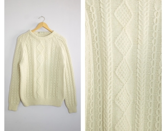 Vintage Cable Knit Wool Fisherman Sweater Ireland M/L