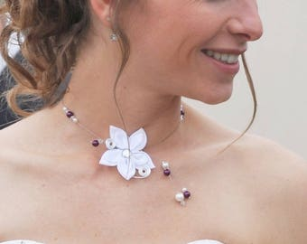 Wedding necklace white plum blossom - ladies - necklace Mariama - wedding party Collection