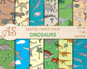 Digital Dinosaurs Paper Pack, 12 printable Seamless scrapbooking papers, dino Digital Collage, kids pattern, Instant Download, set 294