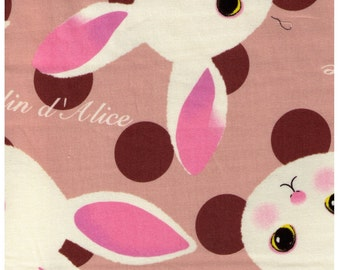 HALF YARD  - Alice in Wonderland - Petit Lapin on Tan with Brown Dots - Japanese Import