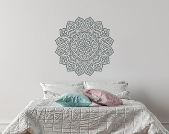 Mandala Wall Decal- Yoga Om Namaste Vinyl Wall Decals for Bedroom Dorm Yoga Studio Home Decor- Mandala Wall Art Boho Bohemian Bedroom #44
