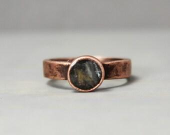 Blue Kyanite Ring, Copper Blue Kyanite Ring, Selenite Jewelry, Ring, Healing Jewelry, Pewter Ring, Handmade Ring