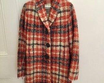 Vintage 60s plaid coat / red wool jacket M/L / MOD women's mohair orange wool plaid coat / Vintage white winter wool coat / 60s pea coat