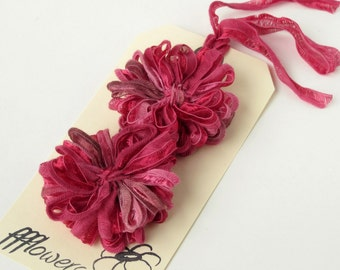 2 Ribbon Flower Appliques, Raspberry Pink, 2 inch size