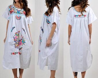 beautiful crisp white vintage embroidered festival dress         H15