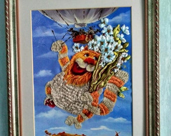Cat happy handmade picture embroidery decor art