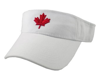 3D Puff Red Maple Leaf Embroidery on an Adjustable Sporty Stylish White Visor Canadian Canada Summer Hat