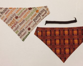 Harvest Time, reversible pet bandana, dog scarf, fall dog bandana, pet wear, fall seasons pet scarf