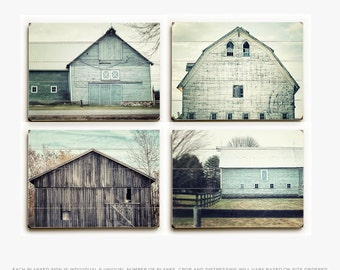Wood Plank Sign Set: Aqua Barn Set of 4 Planked Prints, Fixer Upper Decor, Teal Barn Art, Rustic Aqua Barn Art Set, Farmhouse Style Planks.