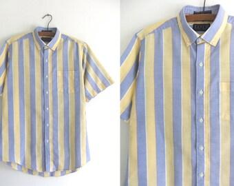 LEVIS Pastel Striped Oxford Shirt Big E 80s Preppy style Button Down Shirt Minimalist Chic Short Sleeve Fitted Shirt Vintage Mens Medium