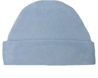 Light Blue Capped Baby Hat. 100% Cotton Knit. Double Thick with a Built in Cap to Stay on Baby's Head. Preemie, Newborn Sizes to 6 Months