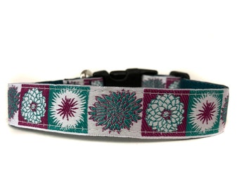1 Inch Wide Dog Collar with Adjustable Buckle or Martingale in Blossom Teal