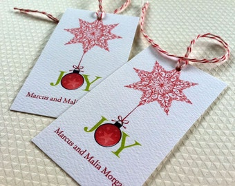 Personalized Christmas Tags, Christmas Gift Tags, Holiday Tags, Snowflake Tags, Set of 20