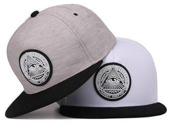 Illuminati Snapback - Peak adjustable Cap hipster Twill Grey black embroidered all seeing eye freemason