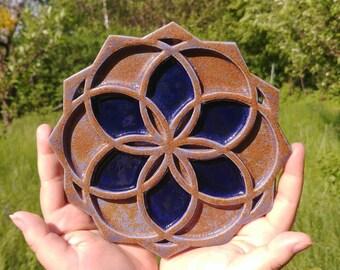 Seed of life ceramic blue brown