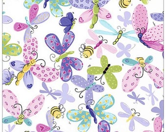 Butterfly fabric bee fabric Susybee fabric baby girl fabric Free Domestic Ship over 50