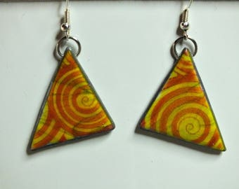 Triangle and spiral earrings