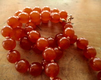 Antique Chinese Amber Bead Necklace Indiv Knotted 22 Inches Long 35 Grams