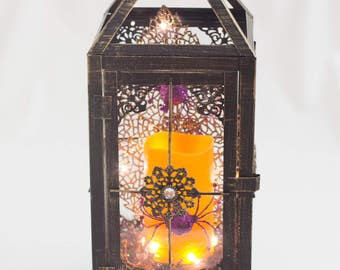 Halloween Lantern / Black Vintage Lantern / Lantern with candle / Shipping Included / Spider Lantern / Black Lantern / Orange Candle Lantern
