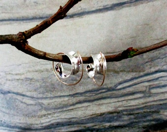 modern minimalist mixed metal hoop earrings gold filled sterling silver