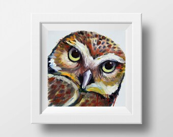 Owl Print, Giclee, Animal Decor, Burrowing Owl Bird Print 12x12, 10x10  Signed Art  Print, Modern Artwork by San Francisco Artist Lisa Elley