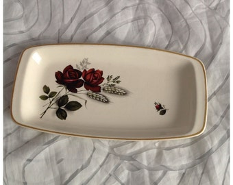 REDUCED! Vintage FS Romania Sandwich Plate, Cream with Deep Red Roses & Gilt Trim