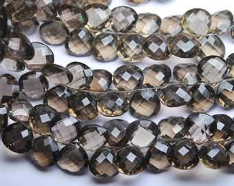 7 Inch Strand,42 Beads,Finest Quality,Matched Pair 9mm Size,Smoky Quartz Faceted Heart Shaped Briolettes