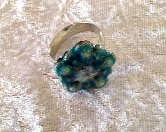 Silver turquoise flower cabochon ring raku pottery