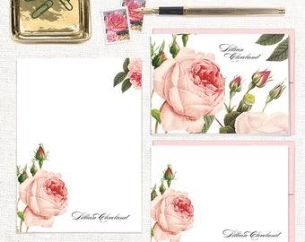 complete personalized stationery set - LIGHT PINK ROSE - note cards - notepad - floral stationary - letter writing set - pink envelopes