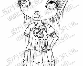 INSTANT DOWNLOAD Digi Stamp Digital Big Eye Sassy Girl ~ Bianca Image No.108 by Lizzy Love