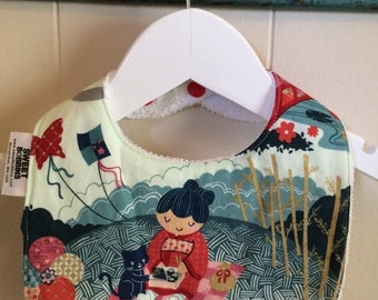 Spring Sale Kimono Tea - Infant or Toddler Bib - Terry Cloth Backing - Reversible with ADJUSTABLE Snaps